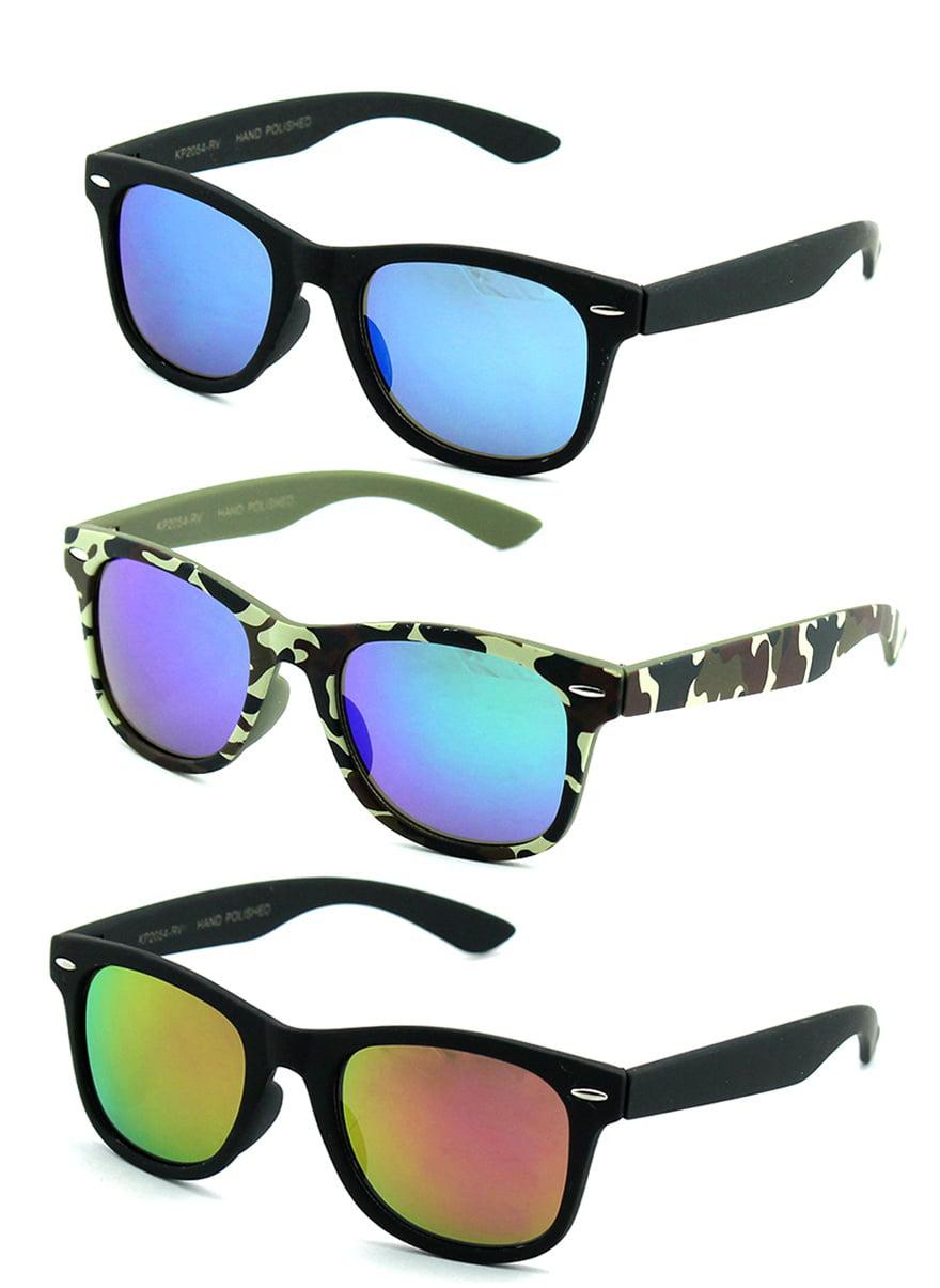 Newbee Fashion - Kids 80's Classic Vintage Retro Style Mirrored Lens Camo Design Fashion Sunglasses Camouflage