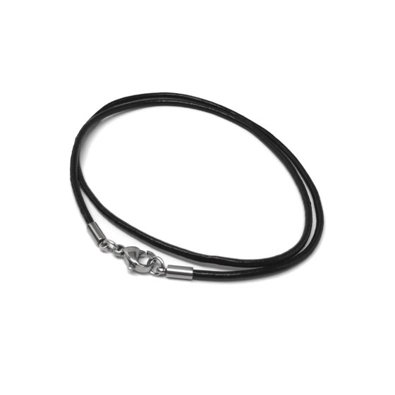 a405547aa0104 Loralyn Designs - 2mm Genuine Black Leather Necklace Cord with Stainless  Steel Clasps - Walmart.com