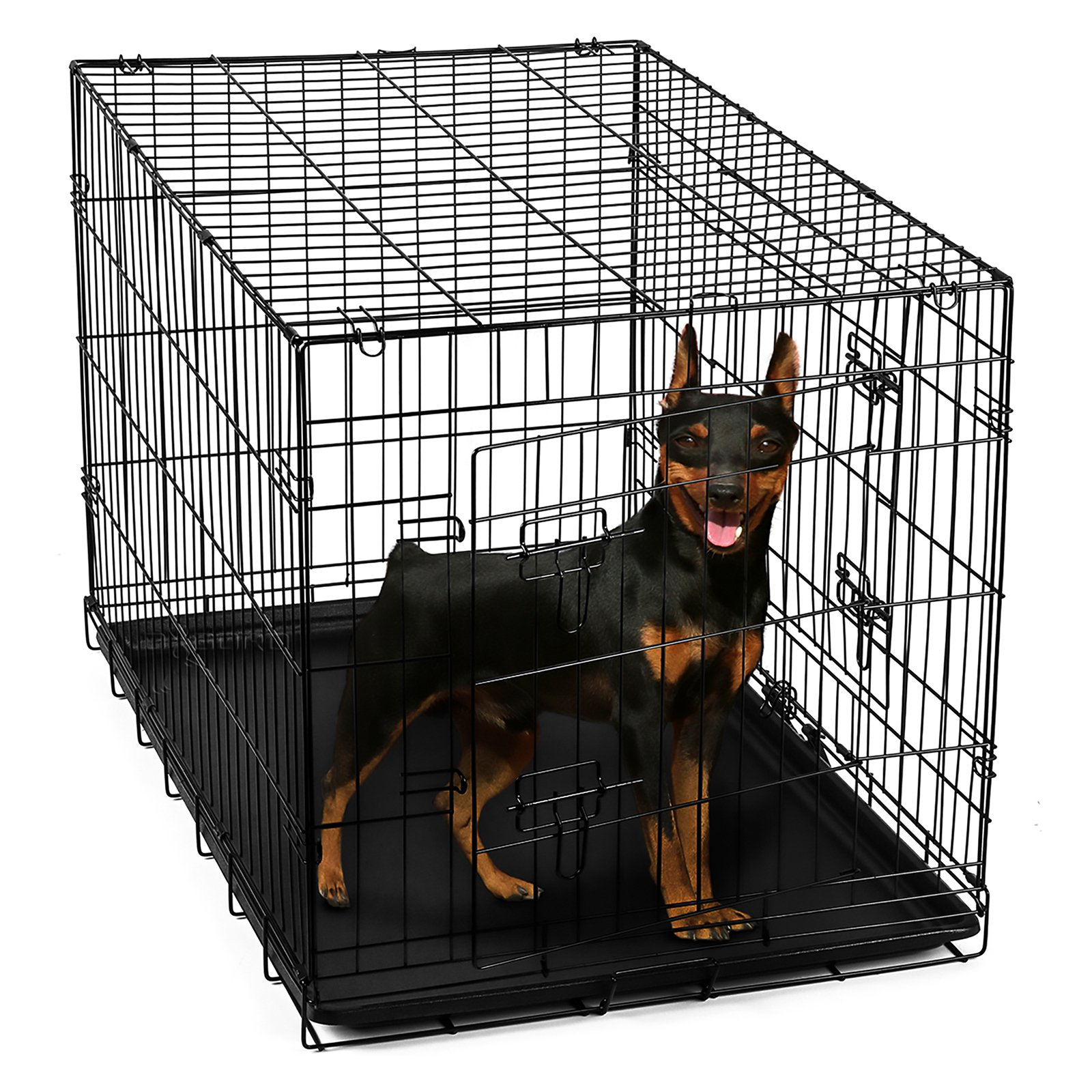 "OxGord 24"" Heavy Duty Foldable Double Door Dog Crate with Divider and Removable ABS Plastic Tray, 24"" x 17"" x 19"""