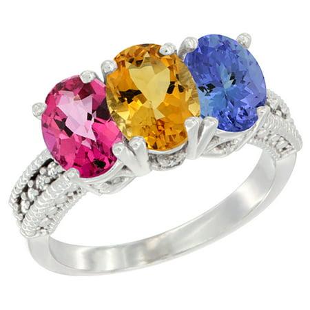 10K White Gold Natural Pink Topaz  Citrine   Tanzanite Ring 3 Stone Oval 7X5 Mm Diamond Accent  Sizes 5   10