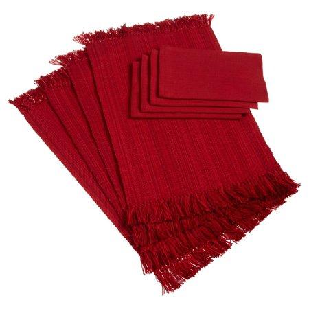 FRINGE VARIGATED PLACEMAT & NAPKIN RED Set of 8