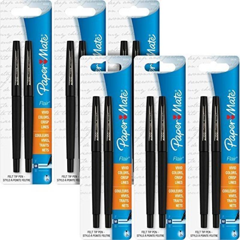 Paper Mate Flair Porous Felt Tip Pens, Medium Point, Black Ink (12 Count)