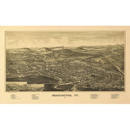 Old Map of Bennington Vermont 1887 Bennington County Canvas Art -  (24 x 36)