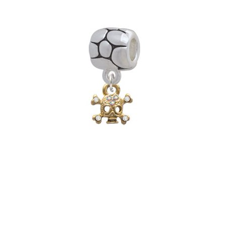 Mini Gold Tone Skull & Bones with Crystals - Pebble Charm Bead for $<!---->