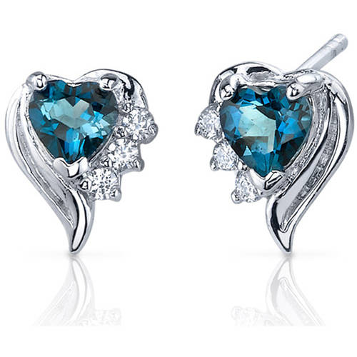 Oravo 1.00 Carat T.G.W. Heart-Shape London Blue Topaz Cubic Zirconia Rhodium over Sterling Silver Stud Earrings