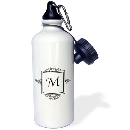 3dRose Initial letter M personal monogrammed fancy black and white typography elegant stylish personalized, Sports Water Bottle, (Personal Water Bottle)