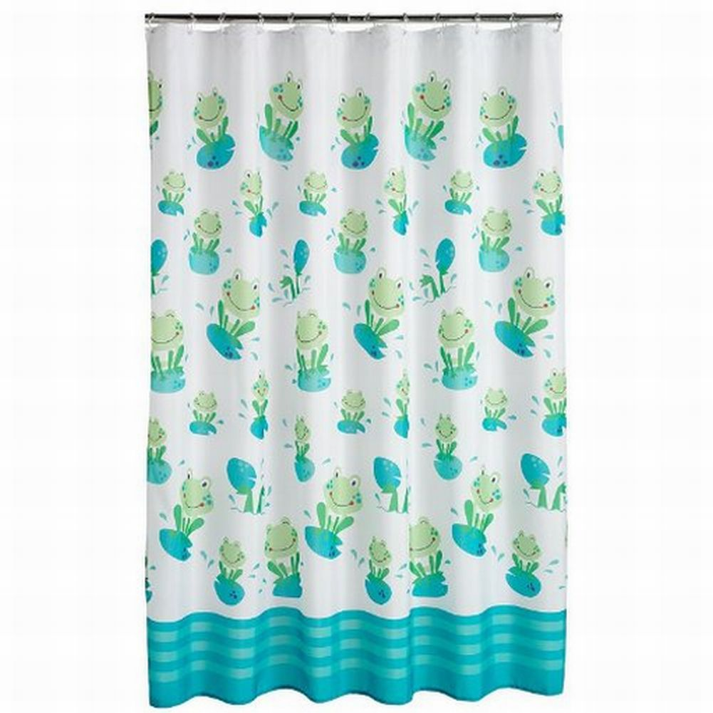 Jumping Beans Froggy Fun Fabric Shower Curtain Green Frogs Kids Bath