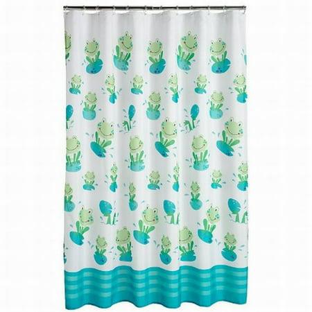 Jumping Beans Froggy Fun Fabric Shower Curtain Green Frogs Kids Bath