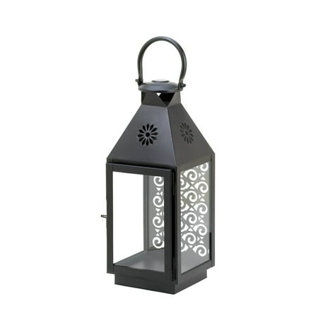 Patio Candle Lanterns, Small Hanging Iron Lantern Candle Holder - (Black Hanging Lantern)