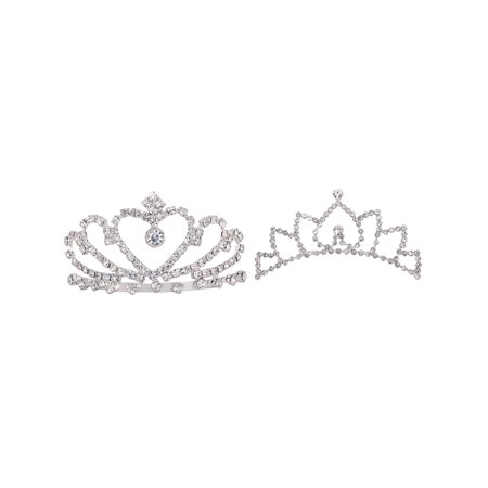 AshopZ Girls 2 Piece Set Lovely Princess Wedding Tiara Crown Comb w/ Rhinestones