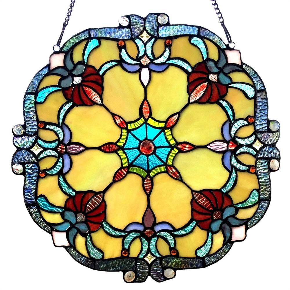 "CHLOE Lighting ROSALIE Victorian Tiffany-glass Window Panel 18"" Wide"
