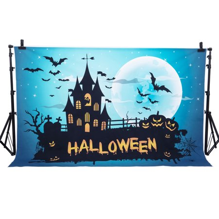 Really Scary Halloween Backgrounds (NK HOME 7x5ft Halloween Backdrop for Photography Gloomy Castle Sinister Pumpkin Scene Halloween Photo Backdrop Scary Halloween Background Haunted House)