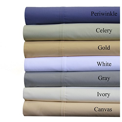 """300 Thread Count Premium Combed Cotton PERCALE Bed Sheet Set [Flat + Fitted + Pillow cases], Single Ply,Super Extra Deep Pocket - Up to 22"""" , California King Size , Solid Periwinkle"""
