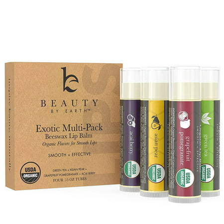 Beauty by Earth Organic Lip Balm Multi Pack; Fruit Flavored Moisturizing Natural Beeswax Chapstick; Long Lasting Therapy to Repair Dry Chapped Cracked Lips (4 Tubes in - Flavored Raspberry Lip Balm