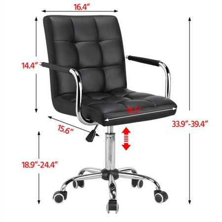 Yaheetech Modern PU Leather Midback 360° Swivel Arms Adjustable Executive Office Chair, Black