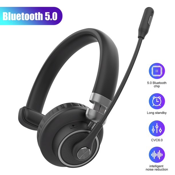 Tsv Pro Trucker Bluetooth Headset Cell Phone Headset With Microphone Office Wireless Headset Over The Head Earpiece On Ear Car Bluetooth Headphones For Cell Phone Skype Truck Driver Call Center Walmart Com