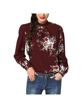 73980d8984edd Product Image Women Casual Long Sleeve Floral Print Chiffon Blouse Shirts  Tops