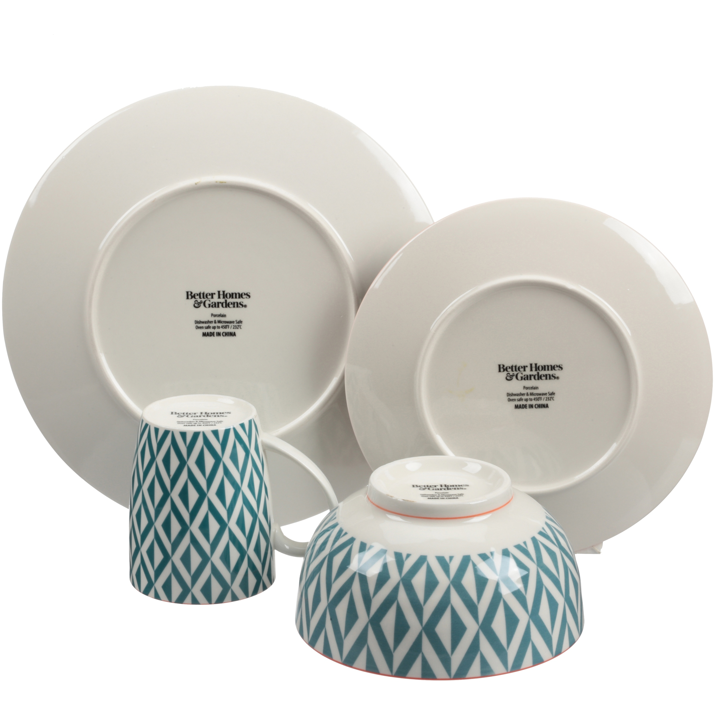 Better Homes Gardens Piers Dinnerware Teal Mix And Match Set Of 16