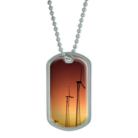 Power Conservation Device - Wind Power at Sunset - Conservation Dog Tag