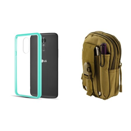 Slim Crystal Clear Hybrid Drop Protection Cover Case (Aqua Teal Green) with Khaki Tactical EDC MOLLE Utility Waist Pack Holder Pouch, Atom Cloth for LG Stylo 4+ Plus/LG Stylo 4 (2018)