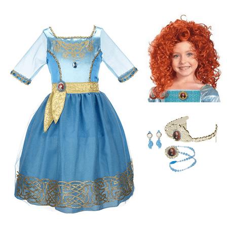 Disney Pixar Brave Merida Costume Set - Dress, Wig, and Jewelry - Brave Merida Costume