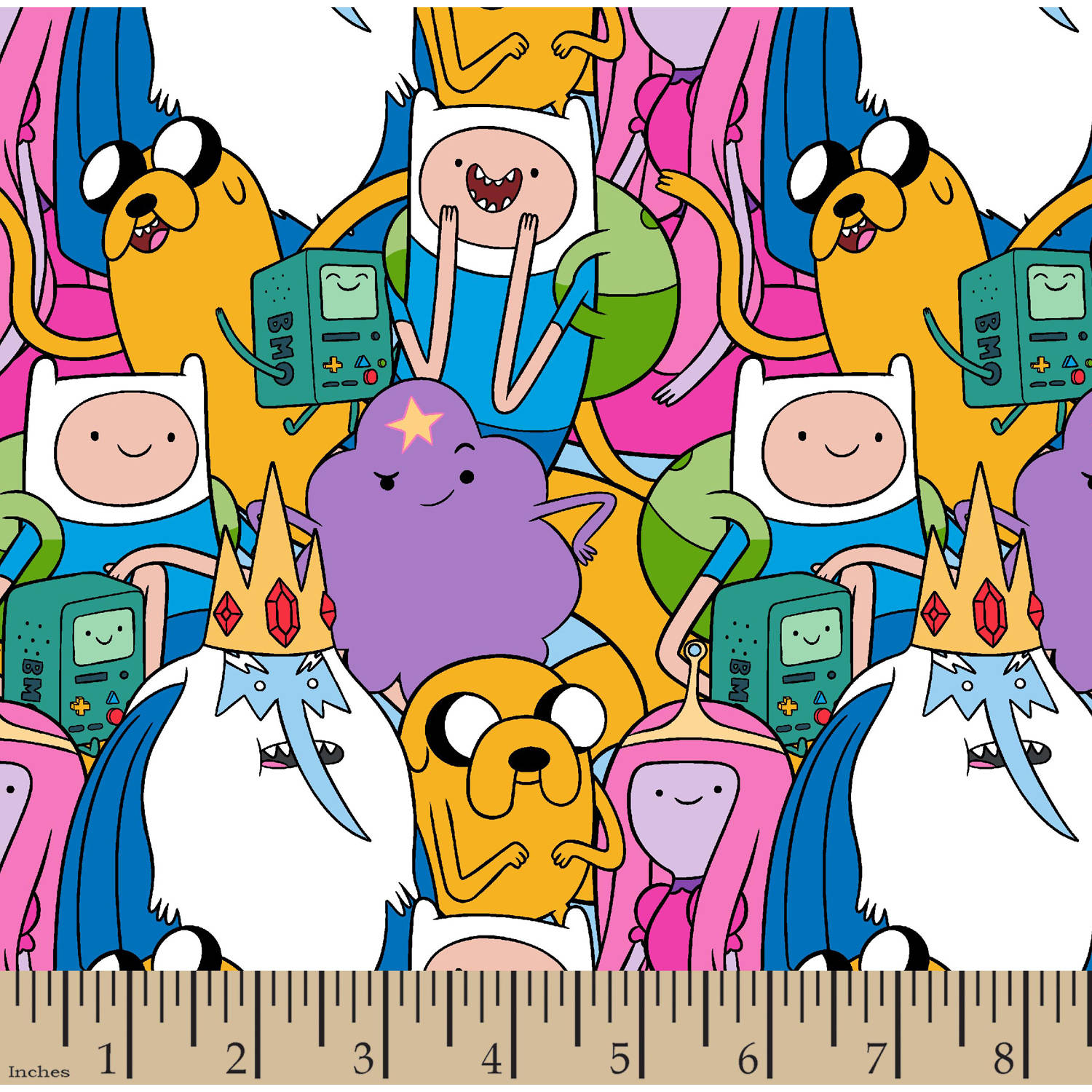 "Cartoon Network Adventure Time Packed Character Cotton, Multi-Colored, 43/44"" Width, Fabric by the Yard"