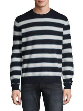 Heathered Stripe Stitch Cashmere Crew Sweater
