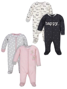 Wonder Nation Baby Girl Pajamas Zip-up Sleep 'N Play Sleepers, 4-Pack