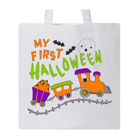 My First Halloween- train with pumpkins, bats, cat,and ghost Tote Bag White One Size (First Halloween Pumpkin)