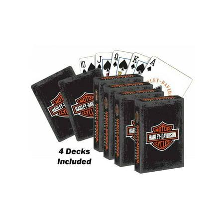 4 Bar Card Size - Harley-Davidson Rustic Bar & Shield Logo Std Size Playing Cards 637 - 4 Decks, Harley Davidson