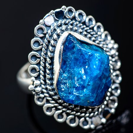 Rough Apatite Ring Size 8 (925 Sterling Silver)  - Handmade Boho Vintage Jewelry RING941143