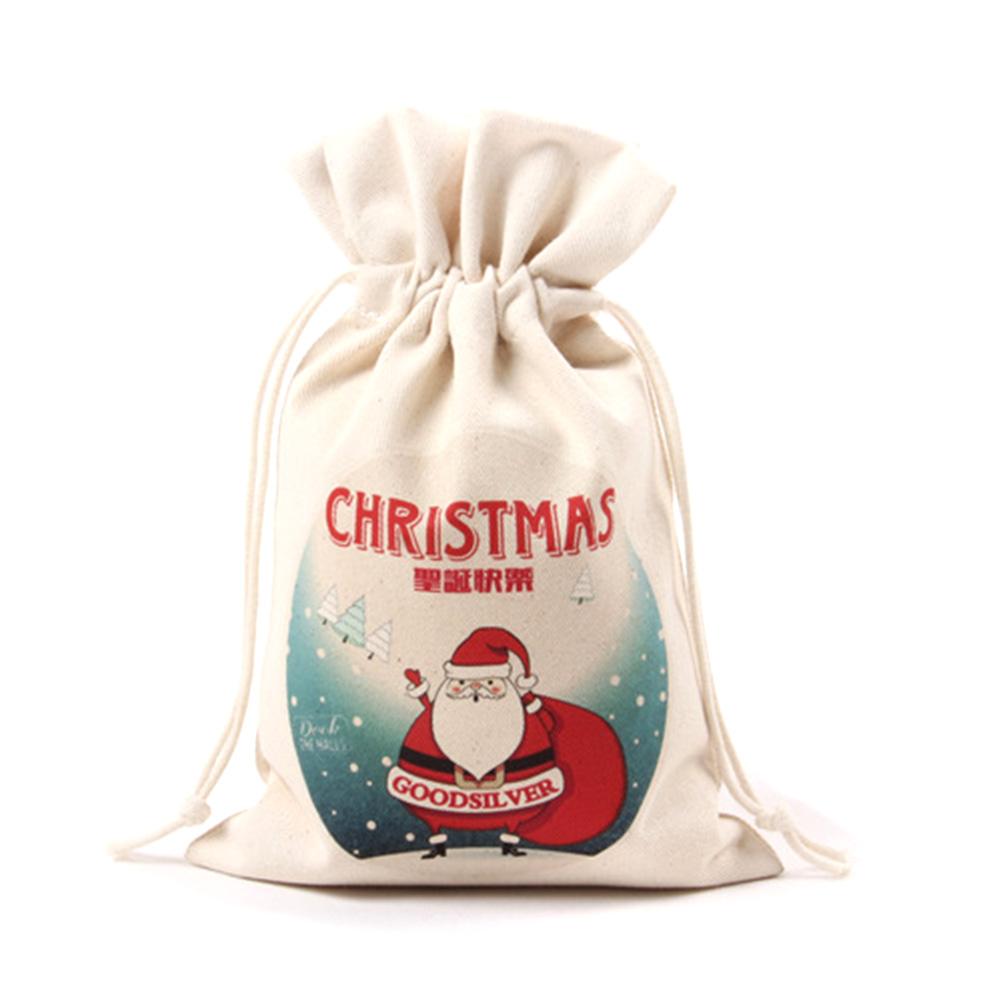 Fancyleo Canvas Drawstring Storage Organiser / Drawstring Bags / Creative Christmas Gift Candy Bag