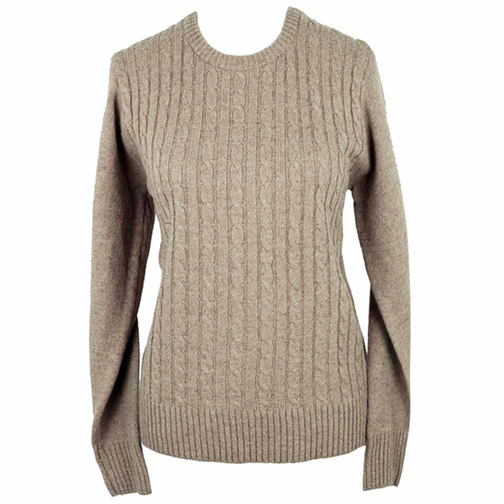 Luxury Divas Simple Long Sleeve Cable Knit Sweater