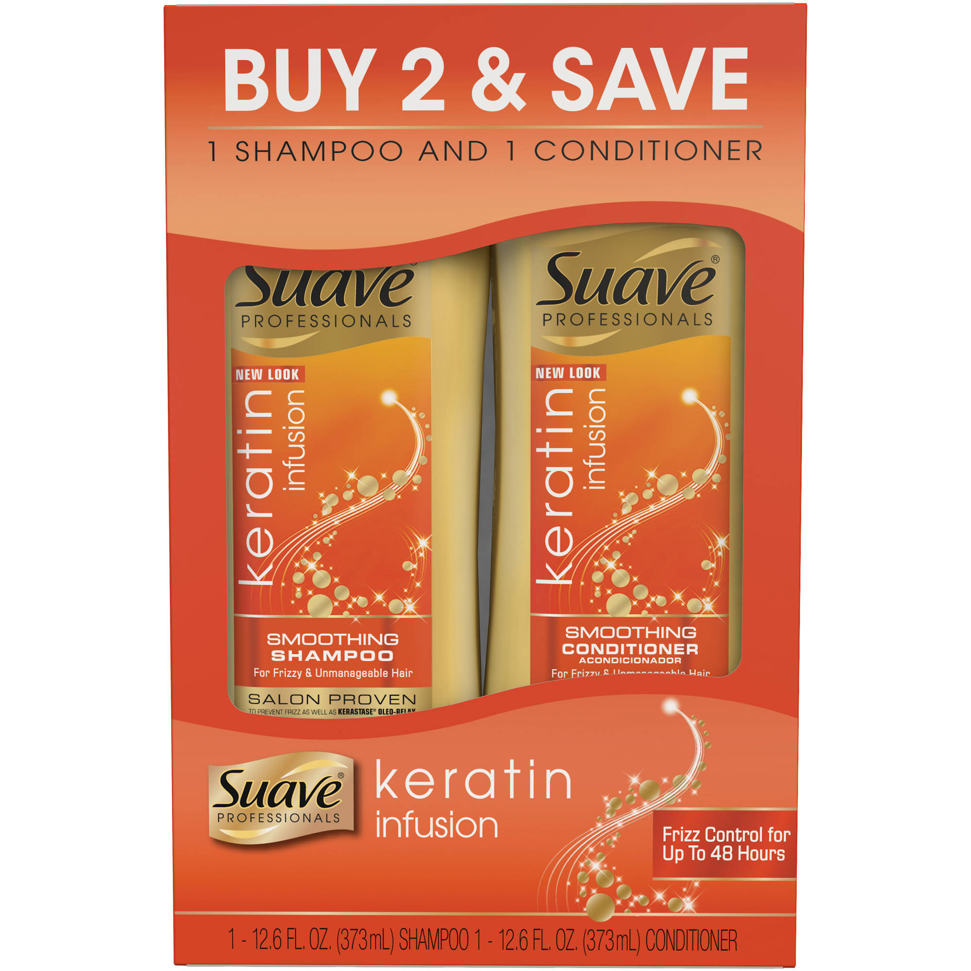 Suave Professionals Keratin Infusion Smoothing Shampoo and Conditioner, 12.6 oz, Pack of 2
