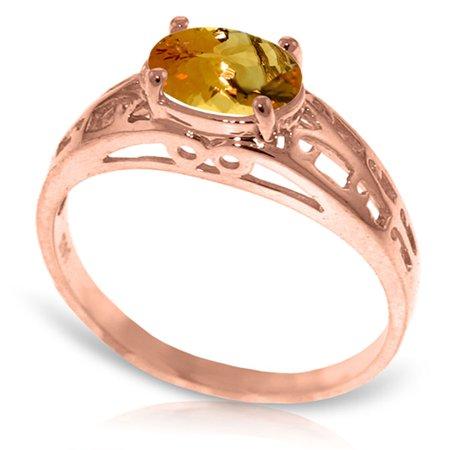 ALARRI 14K Solid Rose Gold Filigree Ring w/ Natural Citrine With Ring Size (Citrine Filigree)