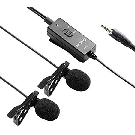 Movo Dual Capsule Lavalier Clip-on Omnidirectional Microphone for Canon EOS 1D-X MK I&II, 5D MK I, II, III, 5DS R, 6D, 7D MK I+II, 60D, 70D, Digital Rebel T6S, T6i, T5i, T4i, T3i, T2i DSLR