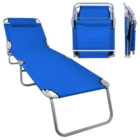 Patio Lounge Chair Sea Blue - Portable Folding Chaise Bed for Outdoor Indoor Furniture Home Gargen Yard Pool Beach Camping Sleep SPA with Removable Pillow ()