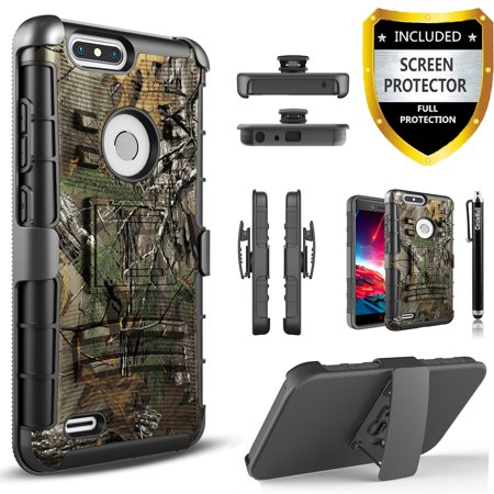 LG G5 Case, Dual Layers [Combo Holster] Case And Built-In Kickstand Bundled with [Premium Screen Protector] Hybird Shockproof And Circlemalls Stylus Pen (Camo)