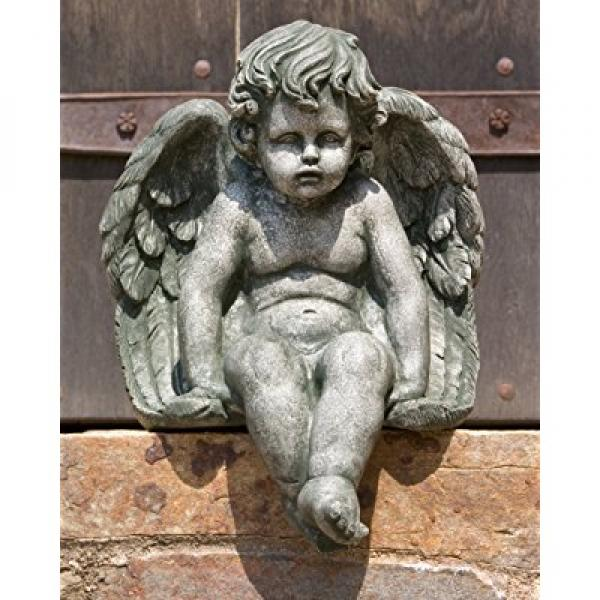 Campania International C-102-AL Sitting Cherub Statuary, Medium, Aged Limestone Finish