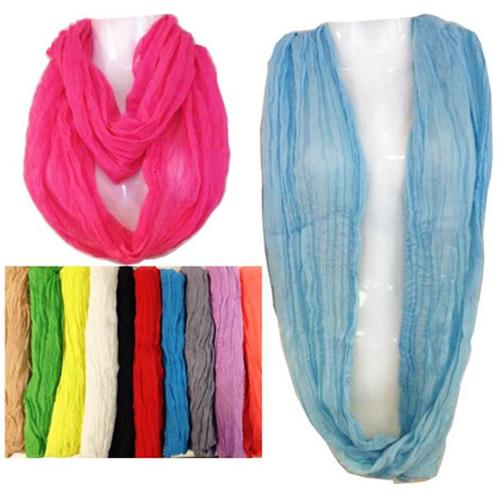 Light Weight Solid Color Infinity Scarve Case Of 24