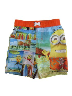 Disney Boys Multi Color Pixar Minions Swim Shorts