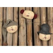 Small Snowman Trio Head Ornament Set