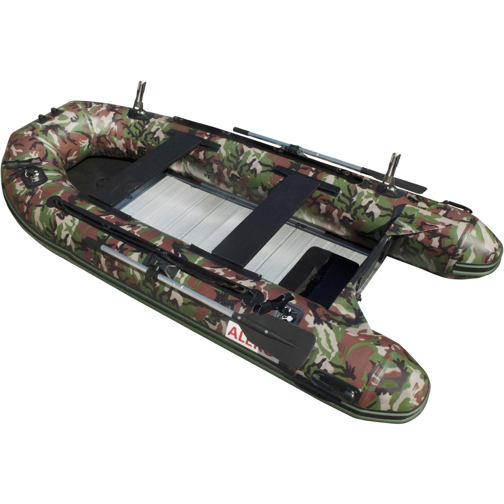 ALEKO PRO Fishing Inflatable Boat with Aluminum Floor - Front Board Holders - 12.5 ft - Camouflage Style