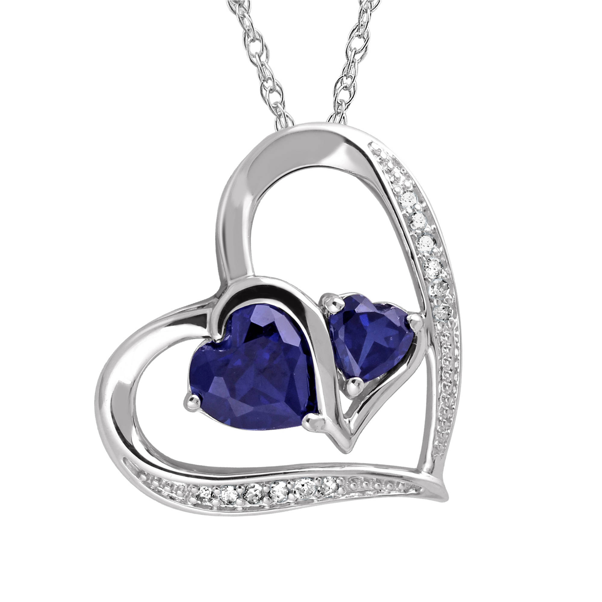 """Heart 2 Heart, Accent Diamond and Created Blue Sapphire Sterling Silver Pendant with Chain, 20"""""""