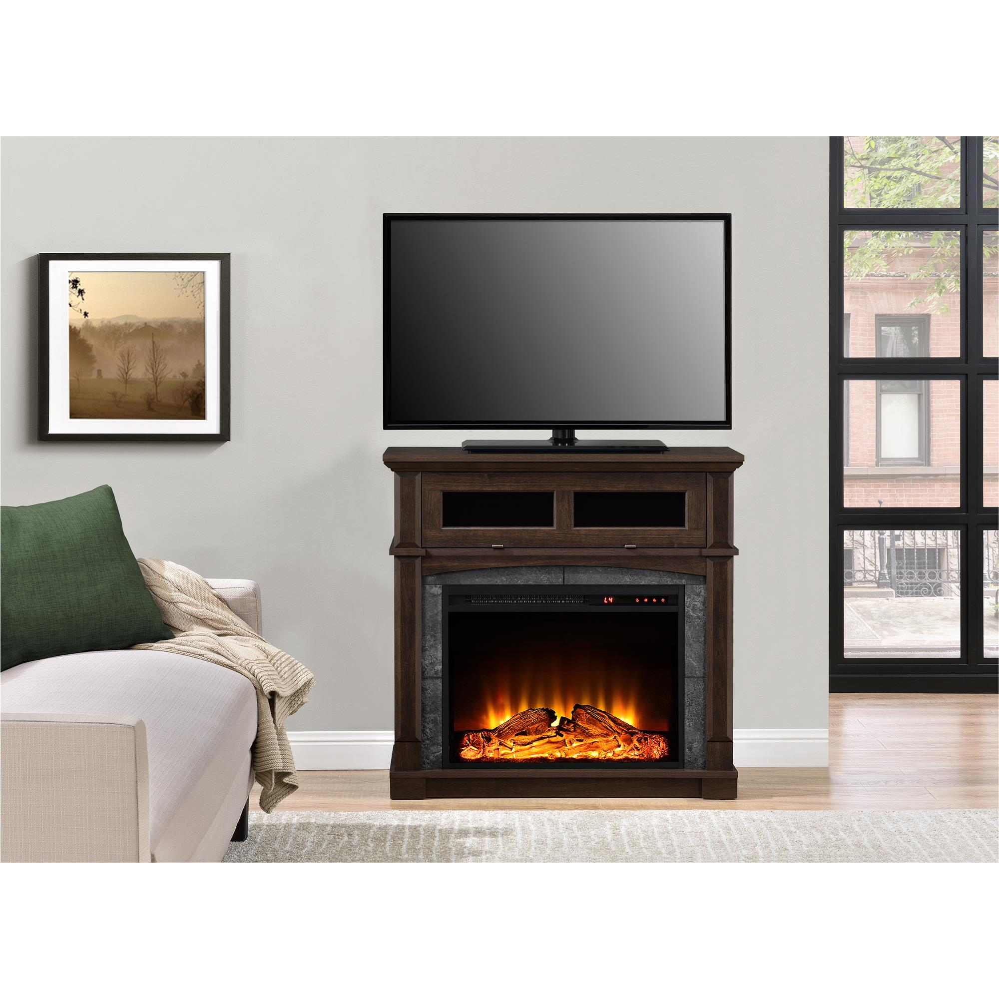 "Ameriwood Home Thompson Place Media Fireplace for TVs up to 37"", Cherry"
