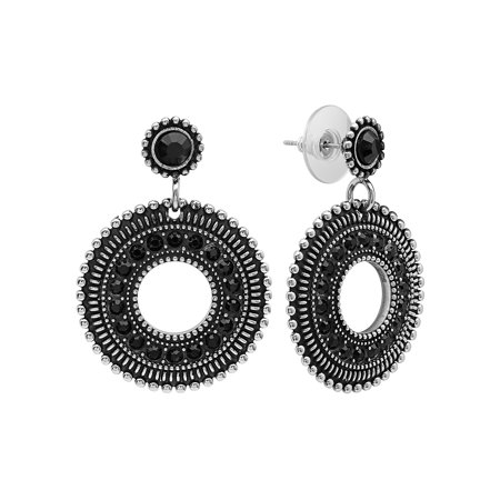 Women's Stainless Steel Embellished Black Stone Accent Fashion (Stainless Steel Black Accent)