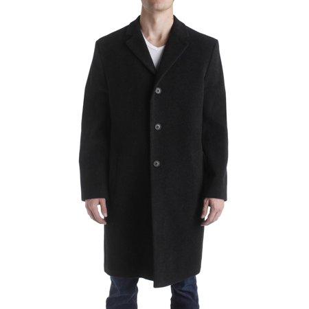 Perry Ellis Portfolio Mens Wool Notched Lapel Top Coat