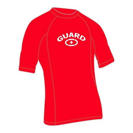 Adoretex Men's Guard Rashguard UPF 50+ Swimwear Swim Shirt (RSG04M) - Red - Small