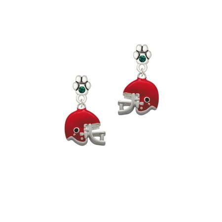Small Red Football Helmet - Green Crystal Paw Earrings](Red Football Helmet)