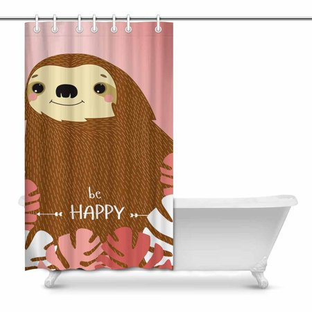 POP Cartoon Sloth Bathroom Shower Curtain Set 48x72 inch - image 1 of 1